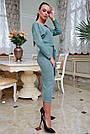 Женское платье трикотажное, размеры от 42 до 52, бирюзовое с кружевом, фото 3