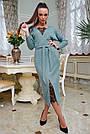 Женское платье трикотажное, размеры от 42 до 52, бирюзовое с кружевом, фото 4