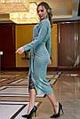 Женское платье трикотажное, размеры от 42 до 52, бирюзовое с кружевом, фото 5