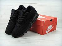 Мужские кроссовки зимние Nike Air Max 90 (мех) (черные)