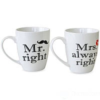 Набір чашок 360 мл 2 шт Mr right і Mrs always right Keramia 21-272-053