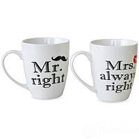 Набор чашек 360 мл 2 шт Mr right и Mrs always right Keramia 21-272-053