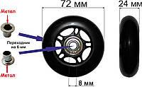 Колесо 72 мм. полиуретановое (черное)