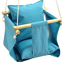 Гойдалка підвісна з подушечкою для будинку блакитна, фото 1
