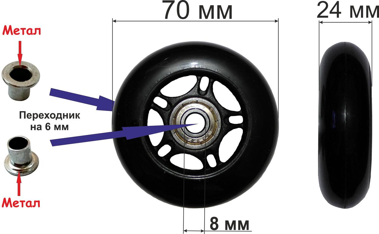 Колесо 70 мм. полиуретановое (черное)