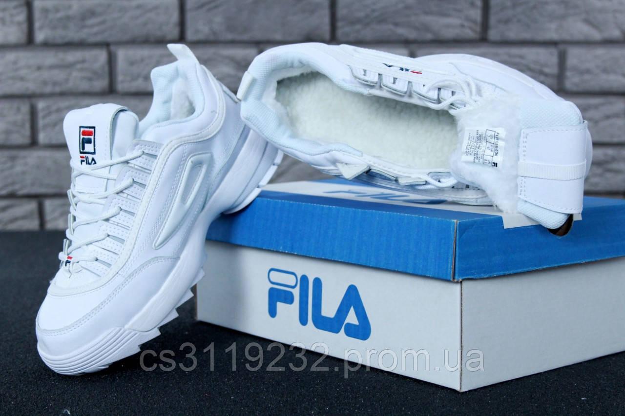 Женские кроссовки Fila Disruptor (мех) (белые)