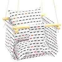 Детская качеля с подушечкой для дома белая Усики