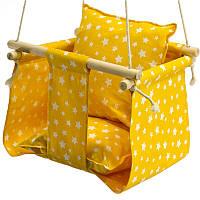 Дитячі гойдалки для будинку підвісні жовта Зірочки, фото 1