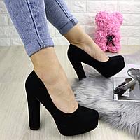 Туфли женские на каблуке черные Sapfir 1233