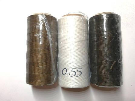 Нитка вощёная по коже (плоский шнур), т. 0,55 мм, 100 м, цв. коричневый, фото 2