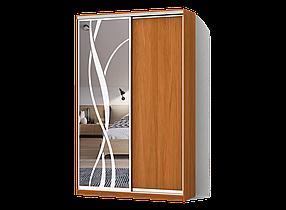 Шкаф-Купе Двухдверный Стандарт-1 ДСП Ольха, зеркало с пескоструем 44 (Luxe-Studio TM)