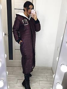 Длинное женское пальто на молнии с капюшоном синтепон 200  42-44, 46-48, 50-52, 54-56, 58-60