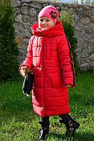 Зимнее пальто (куртка удлиненная) на девочку (подроска) Жаклин на 122,128,134,140см