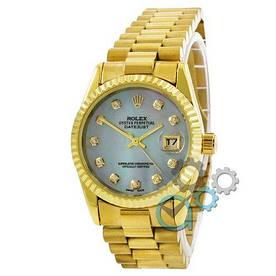 Наручные часы эконом Rolex Date Just Gold-Blue Pearl