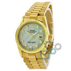 Наручные часы эконом Rolex Date Just Gold-Turquoise Pearl
