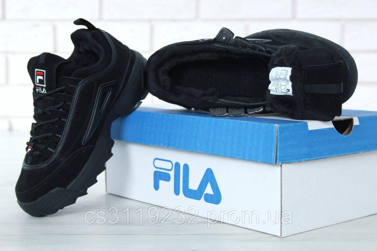 Мужские кроссовки зимниеFila Disruptor (мех) (черные)