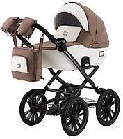 Детская классическая коляска Adamex Lucianо Retro Y801-CZ белая (кожа) - капучино