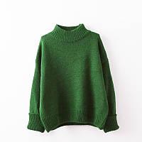 Женский меланжевый стильный свитер  зеленый