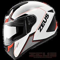 Мотошлем Zeus ZS-811 Красно белый AL6 Чёрный, фото 1