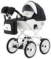Детская классическая коляска Adamex Lucianо Retro Y802-B белая (кожа) - черный