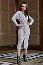 Красивое платье женское, размеры от 42 до 52, трикотаж с кружевом, серое, фото 2