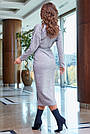 Красивое платье женское, размеры от 42 до 52, трикотаж с кружевом, серое, фото 5