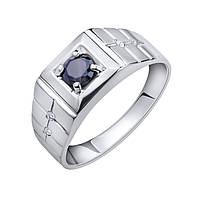 Серебряный перстень-печатка Крон с геометрическими элементами на шинке, черным и белыми фианитами 19.5 000102989