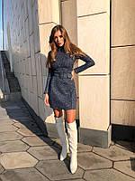 Платье женское стильное букле с поясом 42-44 44-46