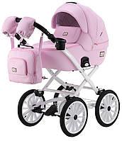 Детская классическая коляска Adamex Lucianо Retro кожа 100% Q110 розовый