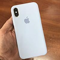 Чехол на телефон iphone x xs 10 красивый силиконовый бампер для айфона 10 светло-синий