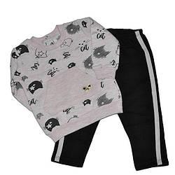 """Детский """"кошка"""" костюм для девочек  на флисе ,размер 9-18-24. (3 ед в уп)"""