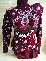Тепла туніка з оленями светр туніка жіночий Бордовий