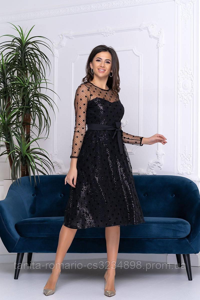 Коктейльное платье 9187e Черный S M L