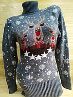 Тепла туніка з оленями светр туніка жіночий Сірий