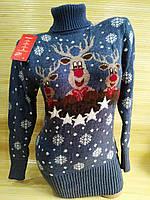 Тепла туніка з оленями светр туніка жіноча Джинс