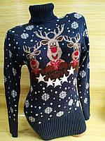 Тепла туніка з оленями светр туніка жіночий Синій