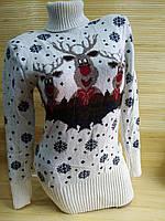 Теплая туника с оленями свитер туника женский, фото 1