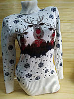 Теплая туника с оленями свитер туника женский