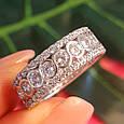 Серебряное брендовое кольцо с фианитами - Женское серебряное родированное кольцо, фото 8