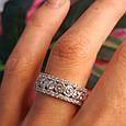 Серебряное брендовое кольцо с фианитами - Женское серебряное родированное кольцо, фото 6
