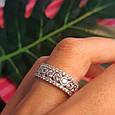 Серебряное брендовое кольцо с фианитами - Женское серебряное родированное кольцо, фото 5