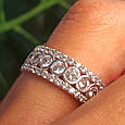 Серебряное брендовое кольцо с фианитами - Женское серебряное родированное кольцо, фото 4