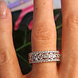 Серебряное брендовое кольцо с фианитами - Женское серебряное родированное кольцо, фото 3