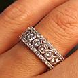 Серебряное брендовое кольцо с фианитами - Женское серебряное родированное кольцо, фото 2