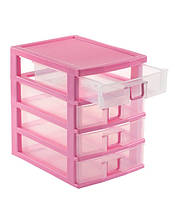 Пластиковый мини комод,органайзер на 4 ящика (в наличии красный и розовый)