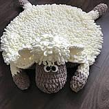 Мягкий вязаный детский плюшевый коврик Баранчик Шон ручной работы., фото 2