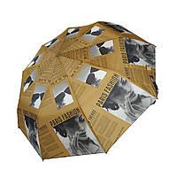 """Женский зонт с интересным принтом газетных статей, полуавтомат от фирмы """"Max"""", коричневый"""