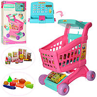 Дитячий іграшковий магазин, візок з калькулятором, касовим апаратом, продукти XS-18059A, фото 1
