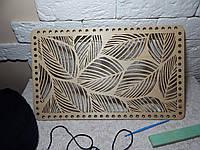 Деревянное ажурное донышко для вязаных трикотажных корзин, 41*25см