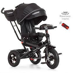 Велосипед M 4060-20 (1шт)три кол.резина (12/10),колясочн,поворот,USB,пульт,черный
